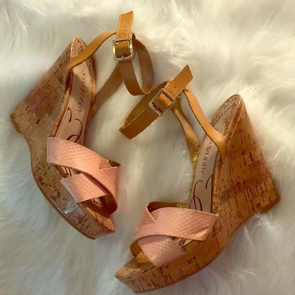 45ca0551d92d Sam   Libby Cork Wedges Faux Animal Ankle Heels. M 5aea1bfc3a112e918c197b7e